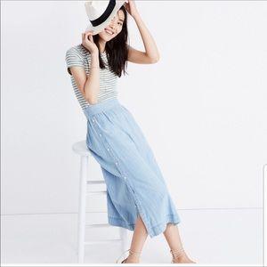 Madewell Indigo chambray Button Side Skirt 12